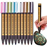 Fine Metallic Markers Paints PensMetal Art Permanent Medium-TipGlass Paint WritingMarkers for Painting RocksBlack PaperPhotoA