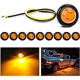 "Nilight TL-03 10 PCS 3/4"" Round Clearance LED Front Rear Side Indicator Bullet Marker Light for Truck RV Car Bus Trailer Van"