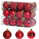 TangTanger Christmas Ball Assorted Pendant Shatterproof Ball Ornament Set Seasonal Holiday Wedding Party Decorations(24 pcs,