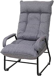 座椅子 脚付 高座椅子 1人掛けソファー 6段階リクライニング グレー ポケットコイル+ウレタンフォーム IHBC-GY