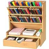 Marbrasse Bamboo Art Supply Desk Organizer, Pen Holder with 9 Compartments + Drawer, Pen Organizer for Desk, Desktop Stationa
