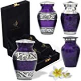 SolaceForever Mini Cremation Keepsake Urns for Human Ashes - Beautiful Small Urns Color Purple Set of 4 with Premium Case - H