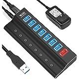 USB 3.0 Hub, Tendak 8 Ports Powered USB Hub Splitter (7 High Speed Data Transfer Ports + 1 Charging Ports) with Individual On
