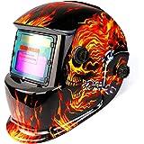 DEKO自動遮光溶接面 液晶式溶接マスク 遮光速度0.00004秒 瞬時遮光可 遮光度#9~#13ワイドビュータイプ ソーラー充電式 溶接マスク/溶接ヘルメット MIG TIG MMA用 (火炎)