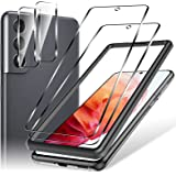 4 Pack LK 2 Pcs Screen Protector Tempered Glass + 2 Pack Camera Lens Protector Compatible with Samsung Galaxy S21 5G 6.2-inch