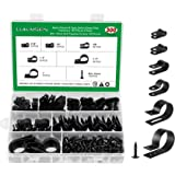 Nylon R-Type Cable Clamp Clips for Wire Management, 6 Sizes 150 Pieces 3/16'' 1/4'' 3/8'' 1/2'' 3/4'' 1'' Black Plastic Screw