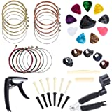 Benvo Guitar Accessories Kit All-in 1 Guitar Tool Changing Kit Including Guitar Picks, Capo, Acoustic Guitar Strings, String