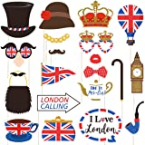 Amosfun British Photo Booth Props Funny British Party Props UK England Selfie Props for British London National Day Party Dec