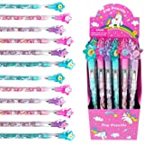 24 Pcs Unicorn Stackable Push Pencil Assortment with Eraser for Unicorn Pink Birthday Party Favor Prize Carnival Goodie Bag S