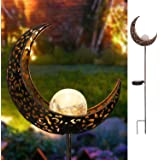 Homeimpro Garden Solar Lights Pathway Outdoor Moon Crackle Glass Globe Stake Metal Lights,Waterproof Warm White LED Lawn,Pati
