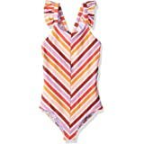 Maaji Girls' One Piece with Cross Back Ruffle Trim Straps Swimsuit