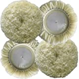Polishing Pad Buffing Pads Kit 4PCS 3inch 100% Natural Wool Hook & Loop Grip Buffing Pad for Compound Cutting & Polishing for