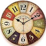 Retro Wooden Wall Clock Farmhouse Decor, Silent Non Ticking Wall Clocks Large Decorative - Quality Quartz Battery Operated -