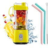Vaeqozva Portable Blender, Personal USB Rechargeable Juice Cup for Smoothie and Protein Shakes Mini Handheld Fruit Mixer 13Oz