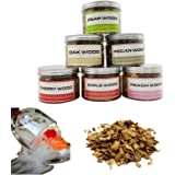 Natural Wood Chips for Smoker Grill and Smoking Gun 6 pcs Wood Chips Pecan, Oak, Cherry, Apple, Peach and Pear About 8oz Each