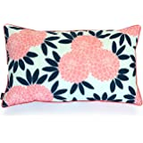 Hofdeco Spring Indoor Outdoor Cushion Cover ONLY, Water Resistant for Patio Lounge Sofa, Navy Pink Floral, 30cmx50cm