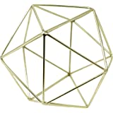 3D Geometric Himmeli Centerpiece & Hanging Ornament, Chrome Plated Metal - 6 Inch Size Gold