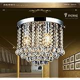Junhong Flush Mount Ceiling Light LED 3 Brightness K9 Crystal Chandelier, Pendant Light, Apply to Living Room,Corridor,Aisle
