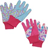 Kids Gardening gloves for age 5-6, age 7-8, 2 Pairs Cotton Garden Gloves for girls boys, Dot & Butterfly & Ladybird Print (Me