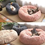 St. Lun Soft P Round Pet Bed Cat Soft Bed Cat Bed for Cats Small Dogs Round Plush Cat Bed (Color : Light green, Size : Diamet