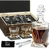 Whiskey Bullet Stones Premium Gift Set by Frolk Whiskey Decanter,2 XL Cubes & 2 Glasses