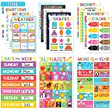 16 Homeschool Posters, Educational Learning Chart for Math, ABC Wall, Weather, Days of the Week, Month Year Calendar, US & Wo