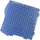 Set of 2 Interlocking Floor Tiles- 11.5 Square inches Each Tile - Non-Slip Tread - Wet Areas Like Pool Shower Locker-Room Bat