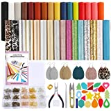 Caydo 32pcs Leather Earring Making KitsInclude 5 Styles Faux Leather Sheets, Earring Cut Molds Stickers and Tools for Leathe