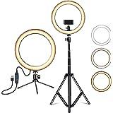 Amconsure LEDリングライト高安定性 三脚スタンド+卓上スタンド 照明撮影用ライトセット 10in/3色モード/10輝度調光 3000K-5600K 補助光 自撮り写真/美容化粧/Youtube/tiktok/ビデオカメラ撮影用(日本語説明
