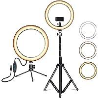 Amconsure LEDリングライト高安定性 三脚スタンド+卓上スタンド 照明撮影用ライトセット 10in/3色モード…
