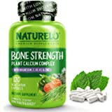 NATURELO Bone Strength - Plant - Based Calcium, Magnesium, Potassium, Vitamin D3, VIT C, K2 - GMO, Soy, Gluten Free Ingredien