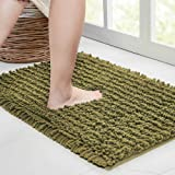Walensee Bathroom Rug Non Slip Bath Mat (24x17 Inch Olive Green) Water Absorbent Super Soft Shaggy Chenille Machine Washable