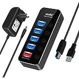USB3.0ハブ 電源付き、atolla アルミニウム usbハブ セルフパワー、4ポート高速USB3.0 の 拡張+1充電ポート、5V/3A ACアダプタ付き、 独立スイッチ付