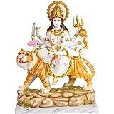 Marble Goddess Maa Durga Devi Idol Statue Sherawali MATA Rani Spiritual Puja Vastu -46 cm (White Gold)