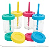 Elk and Friends Kids Cups/Toddler cups with Silicone Straws - Glass Mason Jars 8 oz with Straws + Straw Lids + Leak Proof Reg