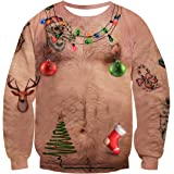 uideazone Unisex Ugly Christmas Sweater 3D Printed Funny Crew Neck Pullover Sweatshirts for Xmas Party Celebrations