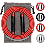 Weighted Jump Rope - Premium Heavy Jump Ropes with Adjustable Extra Thick Cable, Aluminum Silicone Grips Handles, High-Speed