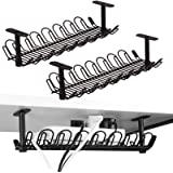 Under Desk Cable Management Tray 2 Packs, 36.5cm Under Desk Cord Organizer for Wire Management, Heavy Metal Wire Cable Tray f