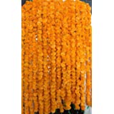 Krati Exports 10 PC - 5 feet Marigold Garland |Indian/American Wedding Party Mantle Decoration, Faux Garlands Wedding Garland
