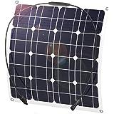ソーラーパネル 50W 単結晶ソーラーチャージャー太陽光発電パネル セミフレキシブル ポータブル バッテリーソーラー充電 (ソーラーパネル50W)