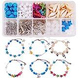SUNNYCLUE DIY 6Pcs Boho Shell Beads Beach Charm Ankle Bracelet Making Kit Foot Chain Sandal Beads Anklets Adjustable Foot Jew