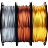 Shiny Silk Gold Silver Copper PLA Filament Bundle, 1.75mm 3D Printer Filament, Each Spool 0.5kg, 3 Spools Pack, with One 3D P