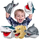 Geyiie Shark Hand Puppets, Kids Hand Puppets Toys Realistic Action Figures Shark Dolphin Soft Rubber Puppets, Sea Animal Shar