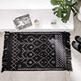 Moroccan 2 x 3 ft Area Rag Rug | Hand Woven Cotton Gray Chindi with Tassels Throw Rugs Door Mat Indoor Floor Area Rugs Living