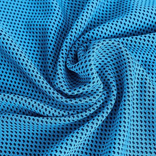 Unigear 冷感タオル 冷却タオル アイスタオル スポーツ タオル 超吸水運動 速乾 タオル 運動に最適(スカイブルー+グレー(2点セット))