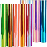 "Holographic Opal Vinyl Sheets, Ohuhu 11 Permanent Adhesive Backed Vinyl Sheets Set, 9 Metallic Vinyl Sheets 12"" x 12"" + 2 Tra"