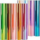 "New Version Holographic Opal Vinyl Sheets, Ohuhu 11 Permanent Adhesive Backed Vinyl Sheets Set, 9 Metallic Vinyl Sheets 12"" x"