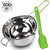 Double Boiler with Silicone Spatula, 600ml Stainless Steel Melting Pot with Heat Resistant Handle for Melting Chocolate, Cand