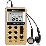 Retekess V-112 AM FM Radio Portable Mini Radio with Earphone Pocket Digital Tuning Rechargeable Battery LCD Display for Walk