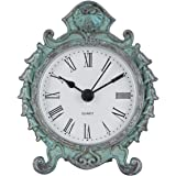 NIKKY HOME Baroque Style Pewter Quartz Round Table Clock with 3.12'' by 1.35'' by 3.87'' Dark Green